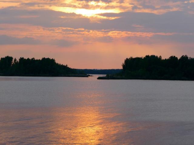 Crossing Novy Mlyny Lakes at Sunset