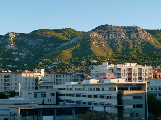 Mont Faron, as seen from my (office desk/guest bedroom) at sunrise