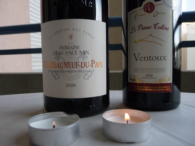 Complementary Ventoux wine from the race and some Chateauneuf-de-Pape